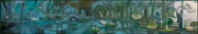 """"""" chiaro-di-luna """" -2008, cm 90x600, mixed on wood, private collection"""