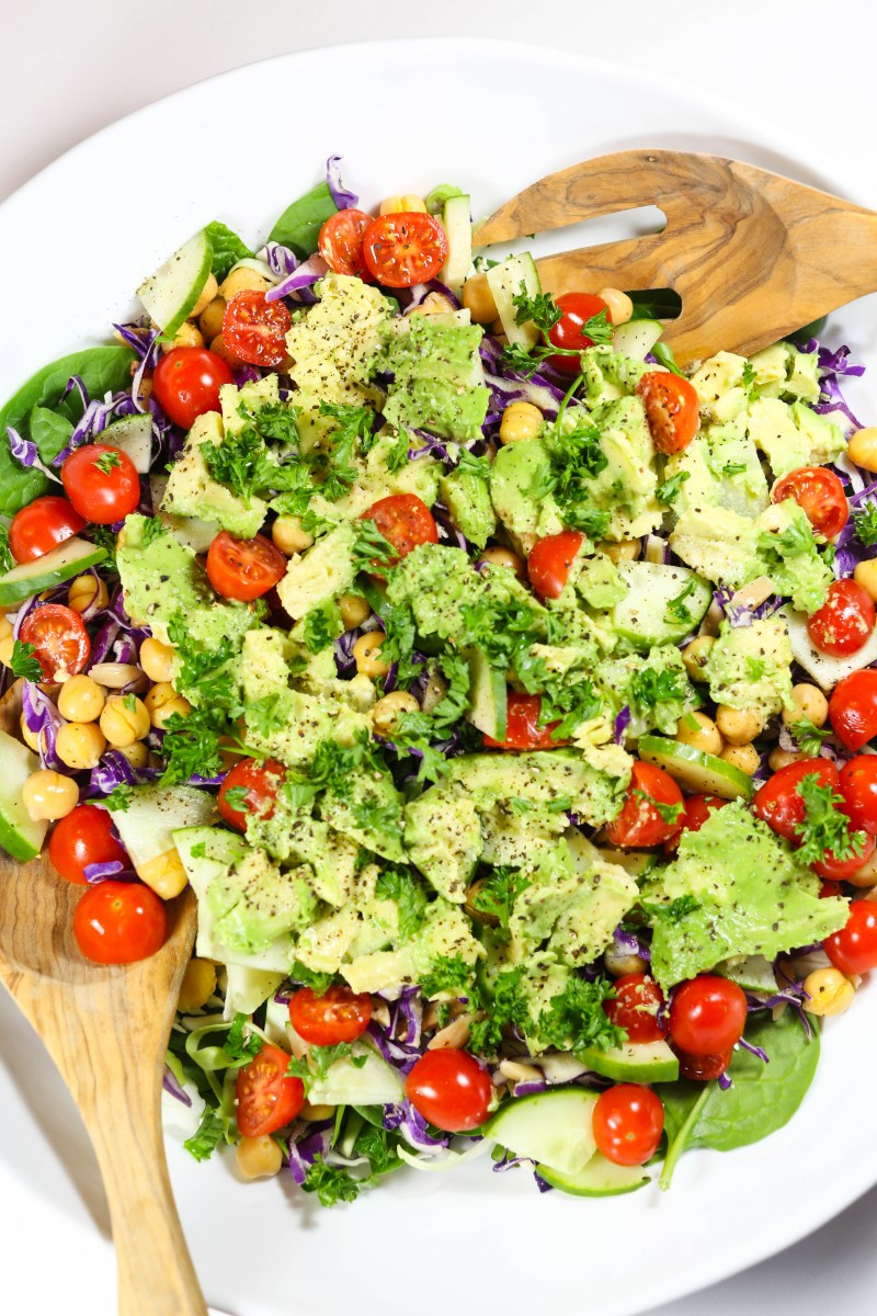 Smashed Avocado and Tahini Salad