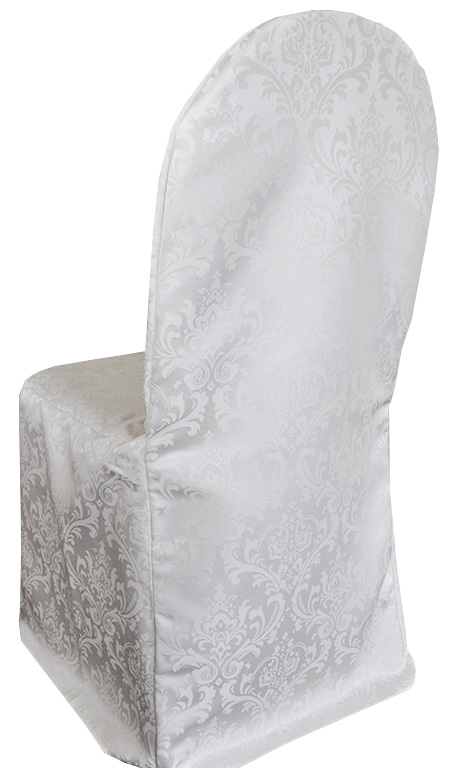 banquet chair covers for sale bentwood cane cafe chairs jacquard damask polyester cover white gala rentals