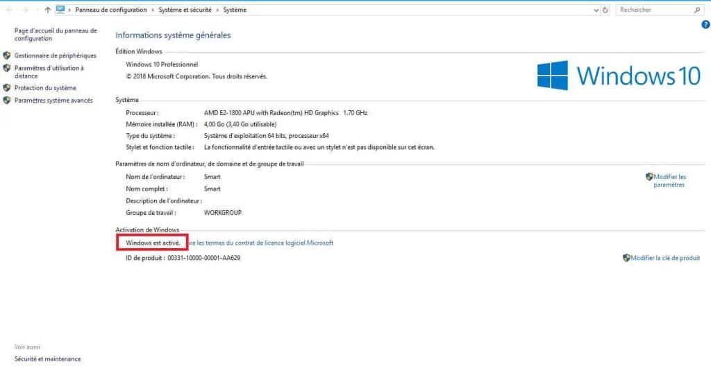 Windows 10 activé
