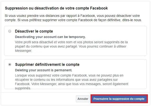 Effacer un compte FB