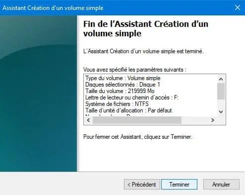 Terminer pour partitionner un disque dur
