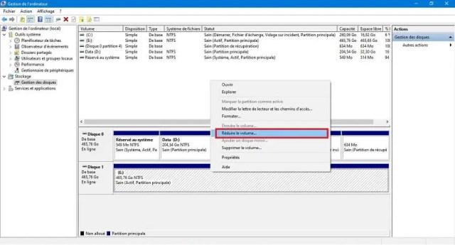 Réduire le volume de la partition existante avant de partitionner un disque dur