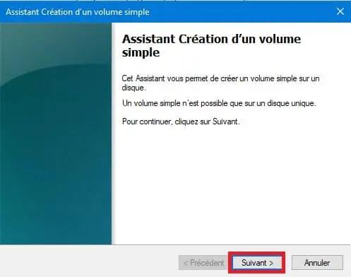 Créer un volume simple - creation d'une partition de disque dur