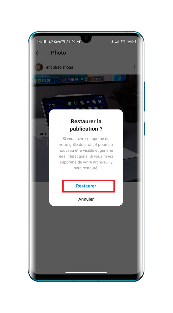 récupérer ou restaurer une publication supprimée sur Instagram