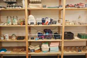 textiles on wooden shelf