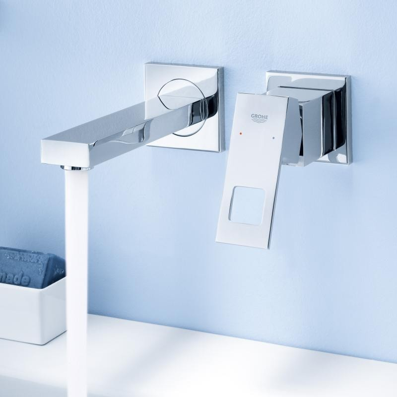 double kitchen sink costco play set grohe eurocube 2 hole concealed basin mixer tap