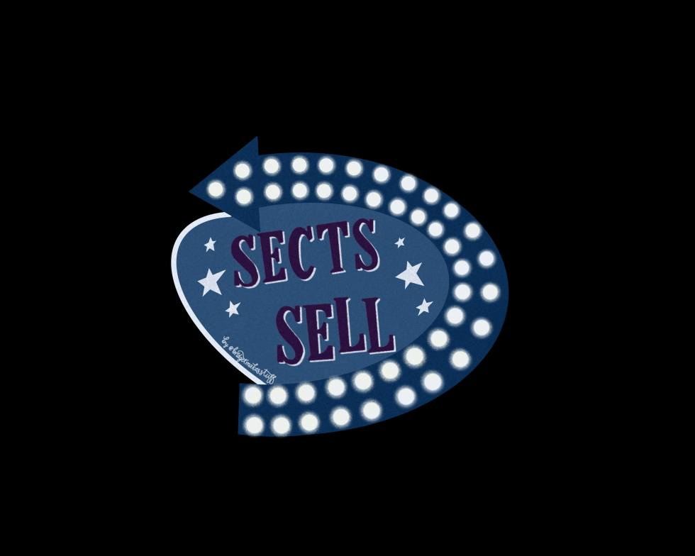 "Retro motel sign that says ""Sects Sell."" Has an arrow around the right curve of the sign with neon lightbulbs"