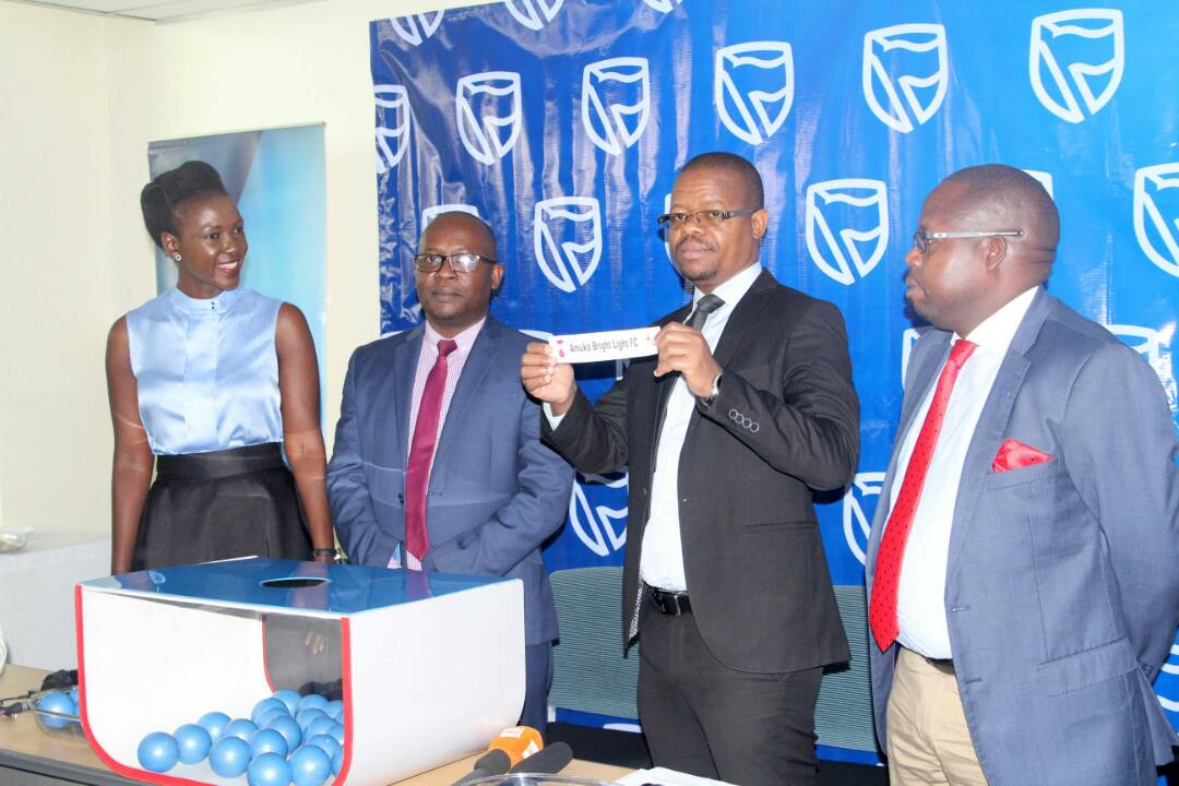 Magogo, Stanbic's Head of Marketing and Communications Daniel Ogong and Stanbic's Communications Manager Cathy Adengo helped to conduct the draw
