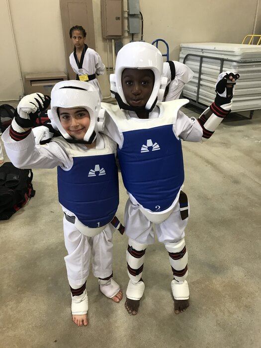 kids sparring for martial arts tournament