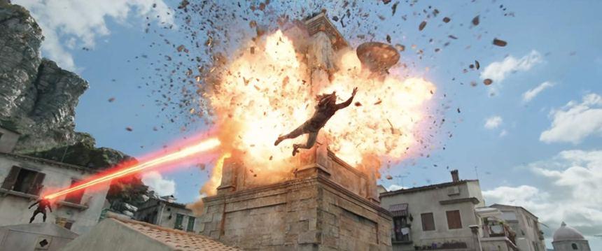 Aquaman jumps away from Black Manta's attack