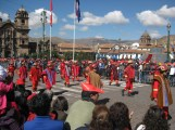 Firemen marching in one of the many parades in the plaza de armas during this time of year