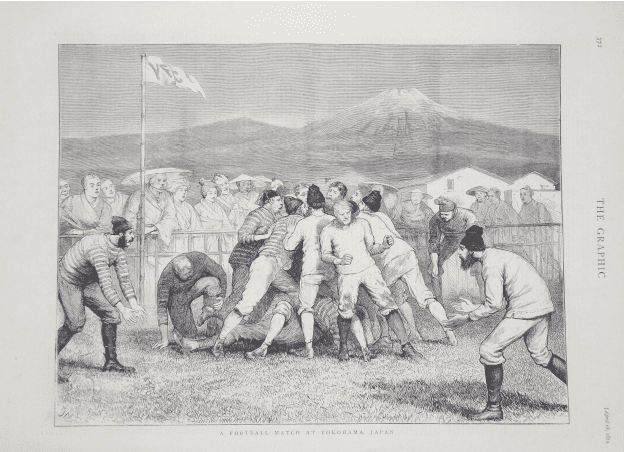 Full page in showing 'Football match at Yokohama, Japan' in 'The Graphic' issue April 14 1874