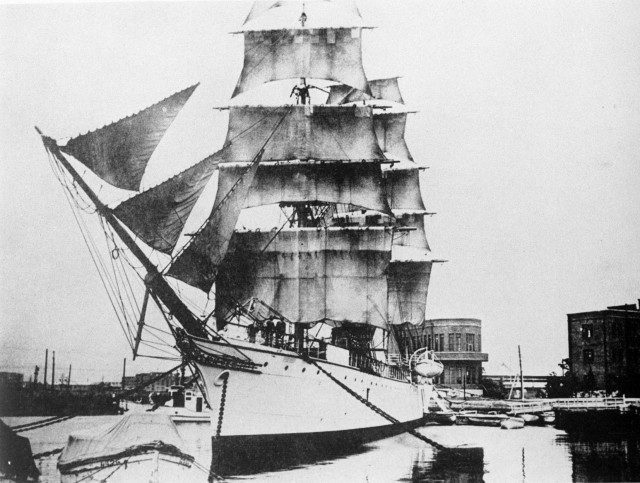The Meiji Maru, lighthouse tender and Imperial yacht, also laid a submarine cable linking Honshu and Hokkaido in 1890 — the first laid entirely by a Japanese crew (Courtesy NTT)