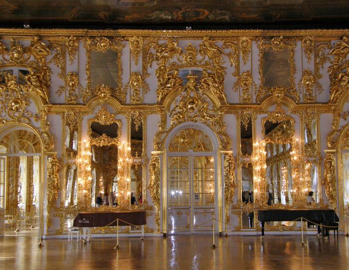 Interior of Catherines Palace Pushkin near Saint