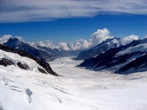 Glacier flowing from the top of europe