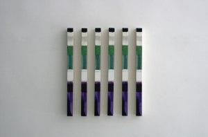 Cuadros iguales 2015. Serie de 6 unidades. Técnica mixta sobre loneta montada en madera. 77 x 7 x 5 cm