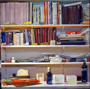 libros,sombrero 100 x 100 cm. 2012
