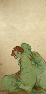 Figuras abrazadas con pendiente Azul.Óleo y p. de Oro.lienzo.143x73-Natividad Jimenez