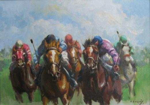 11.- Alfredo Enguix, El arranque, Óleo sobre tabla, 30 x 43 cm