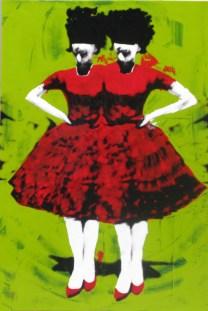 Carolina Convers, Apacibles fondo verde II, 2014, impresión y esmalte sobre acetato y bastidor de tela, 120 x 80 cm