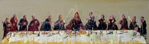 Jazzamoart, La última y nos pintamos, Óleo sobre tela, 60 x 200 cm