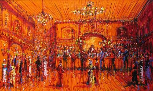 Jazzamoart, Noches bohemias, 2015, Óleo sobre tela, 90 x 150 cm