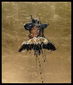 Jazzamoart, Personaje Rembrandt I, 2015, Óleo sobre tela con hoja de oro, 70 x 60 cm