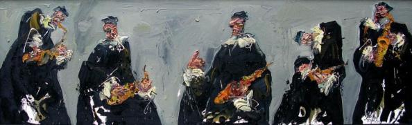 Jazzamoart, Quinteto de la pintura, 2015, Óleo sobre tela, 60 x 200 cm