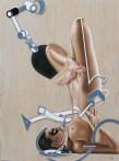 Erevank  y Agustín Portillo, Deus ex, 2016, mixta sobre madera, 160 x 120 cm