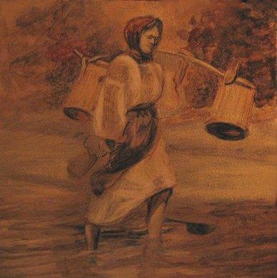 """Sateanca dupa apa"", 30/30 cm, tehnica: mixta pe panza;"