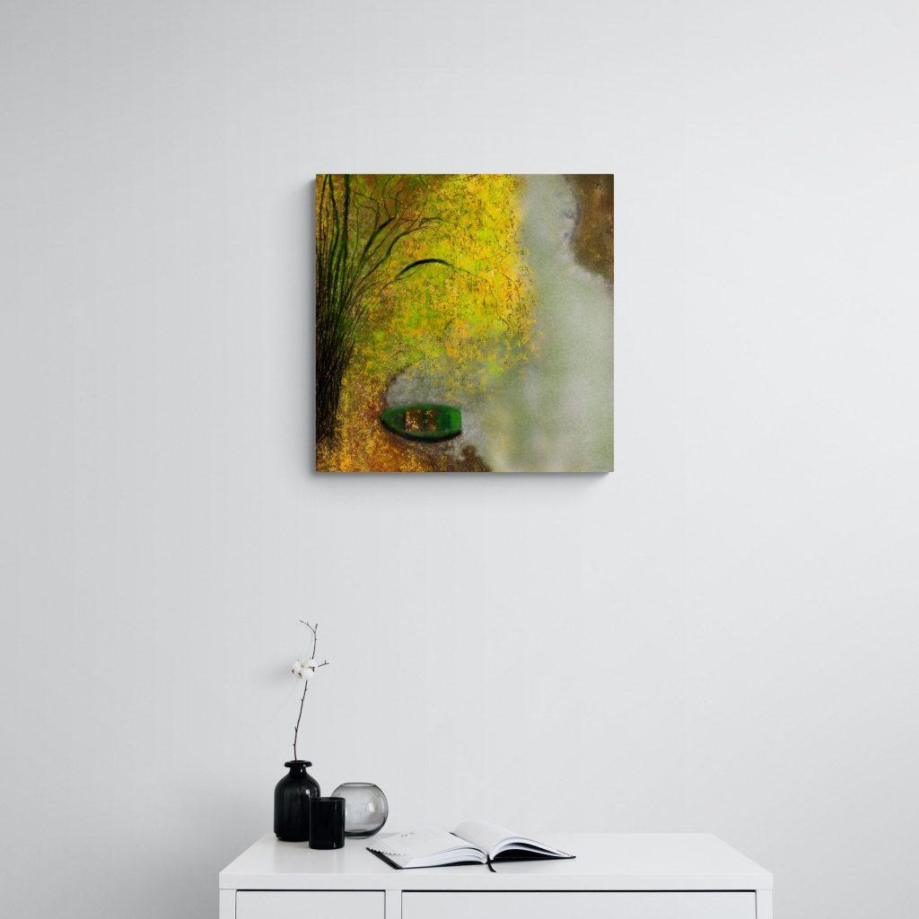 4e image de 'La Barque' édition fine art. Superbe oeuvre fine art inspiré par la belle nature en Occitanie, France. artiste : Anne Turlais - Edition limitée à 300 exemplaires. Impression fine art sur Dibond.