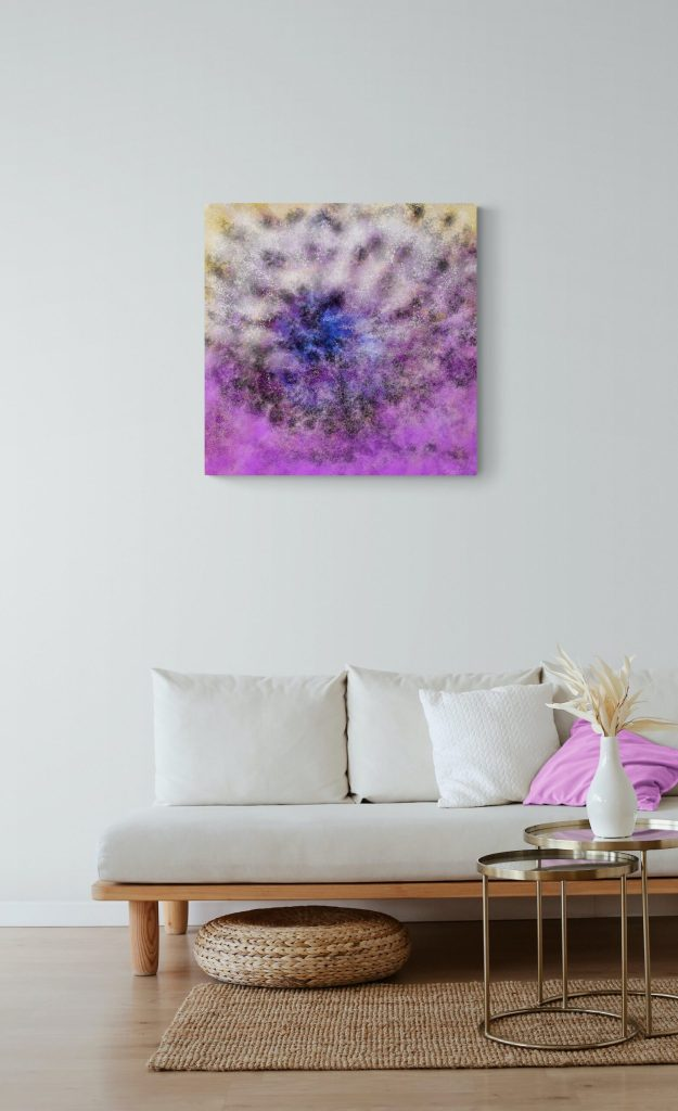Second image of 'Floral III'. Stunning artwork inspired by the burgeoning nature of Occitanie, in France. artist: Anne Turlais - Limited edition of 300. Colorful art print on Dibond, signed and numbered.