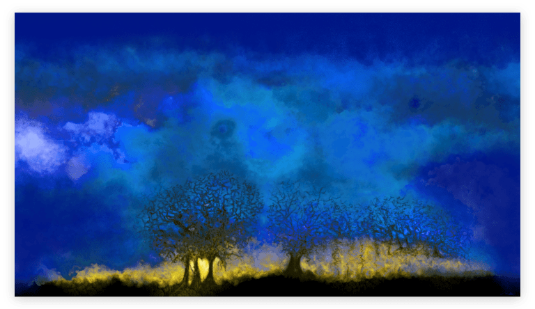 First image of 'Blue Hour'. The sky was low that day, however in the evening it gave us a brief glimpse of the backdrop of its gold setting. artist: Anne Turlais - Limited edition of 300. Night Sky art printed on Dibond.