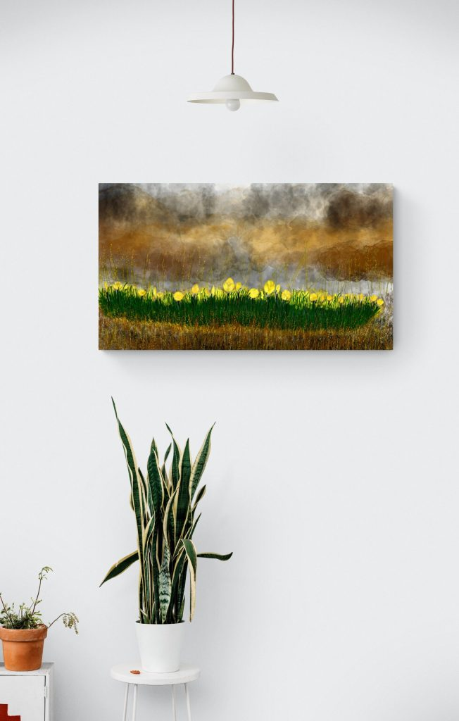 Second image of 'Aster'. A floral wall art print inspired by the aster flowers in Occitanie, printed in limited edition on Dibond and inspired by the colors of Summer. This colorful abstract painting is an original work by Anne Turlais.