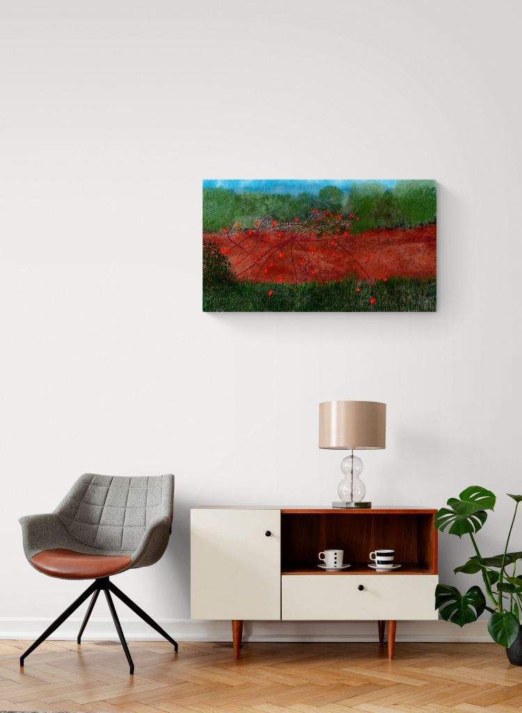 Awe-inspiring contemporary paintings inspired by the rosehip colors in Occitanie by French artist Anne Turlais for your decor.
