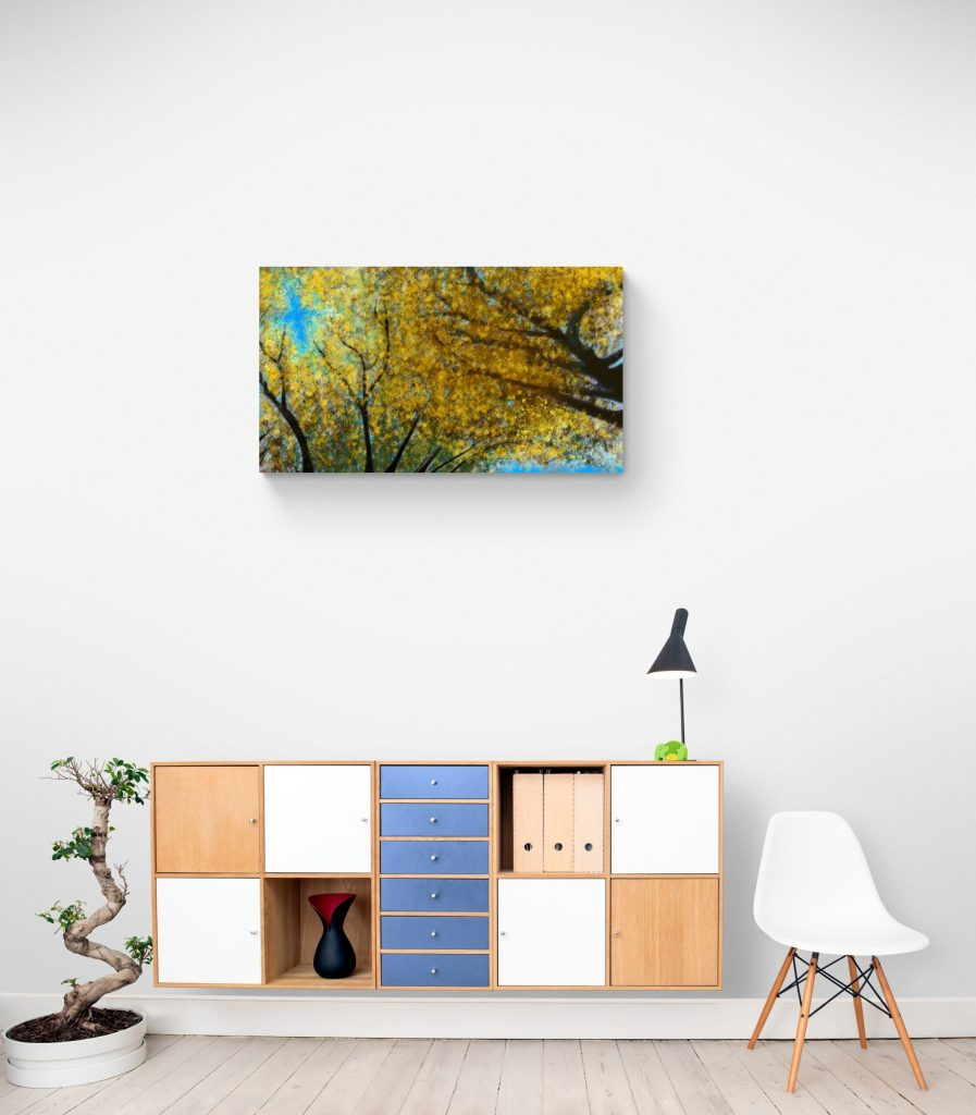 Third image of 'Japanese Linden'. Remarkable art print inspired by the pulsating radiance of Japanese Linden golden leaves in Occitanie, France. artist: Anne Turlais - Limited edition of 300. Floral Art Print for sale, printed on Dibond.