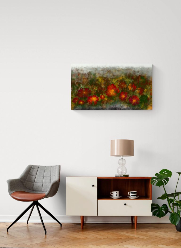 Second image of 'Mauvette Geranium'. Dazzling art print inspired by the beautiful colors of the rose hips of Occitanie, France. artist: Anne Turlais - Limited edition of 300. Floral wall art printed on Dibond.
