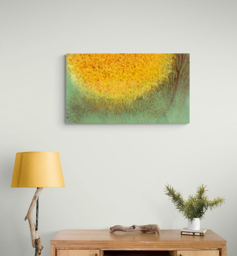 Second image of 'Golden Oak'. Mesmerizing art print inspired by the contrasting colors of the golden oak and milky-green lichen in Occitanie. artist: Anne Turlais - Limited edition of 300. Abstract Floral Art Printed on Dibond.