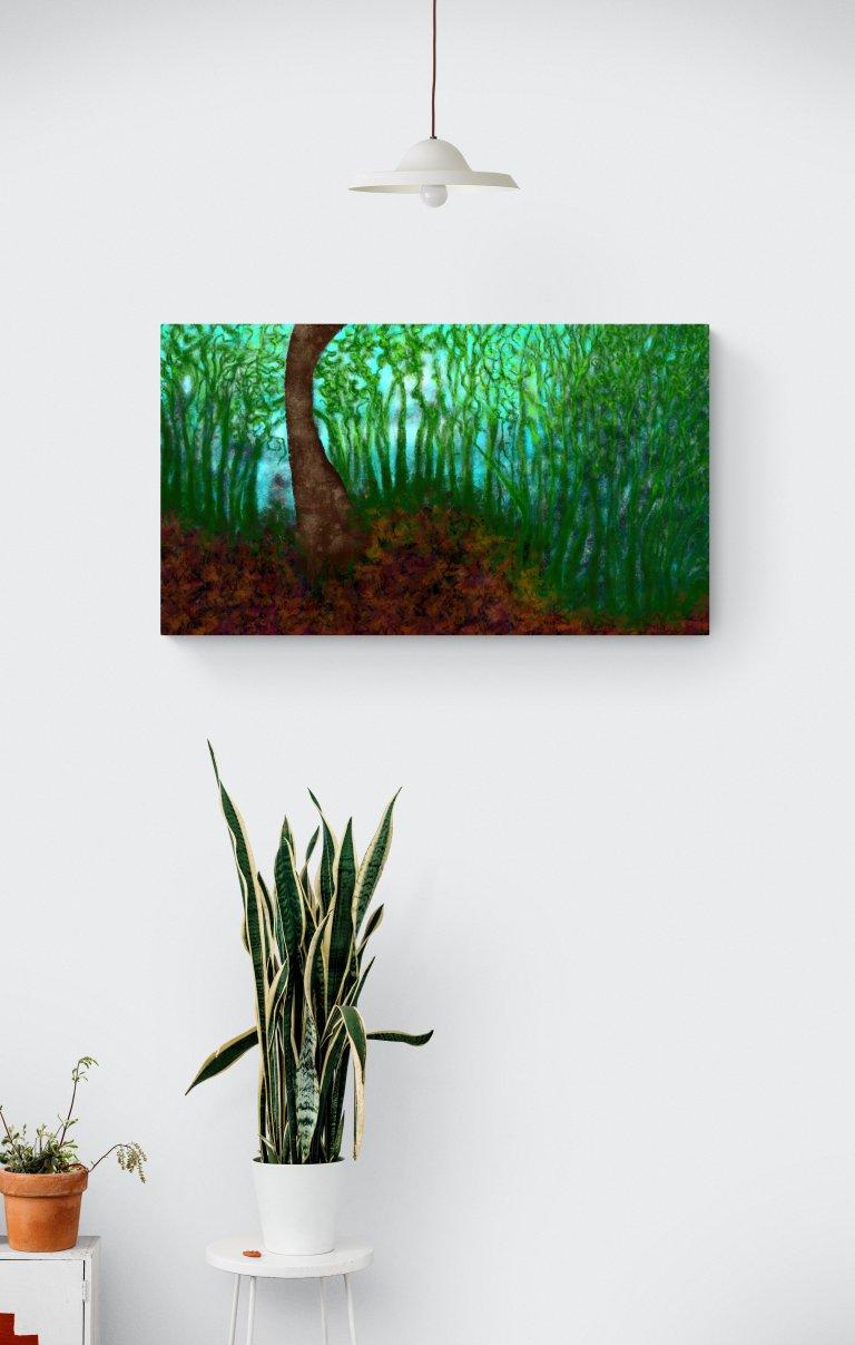 Deuxième impression d'art fascinante inspirée des décors forestiers envoûtants d'Occitanie, en France. artiste : Anne Turlais - Edition limitée à 300 exemplaires. Impression d'art forêt sur Dibond.