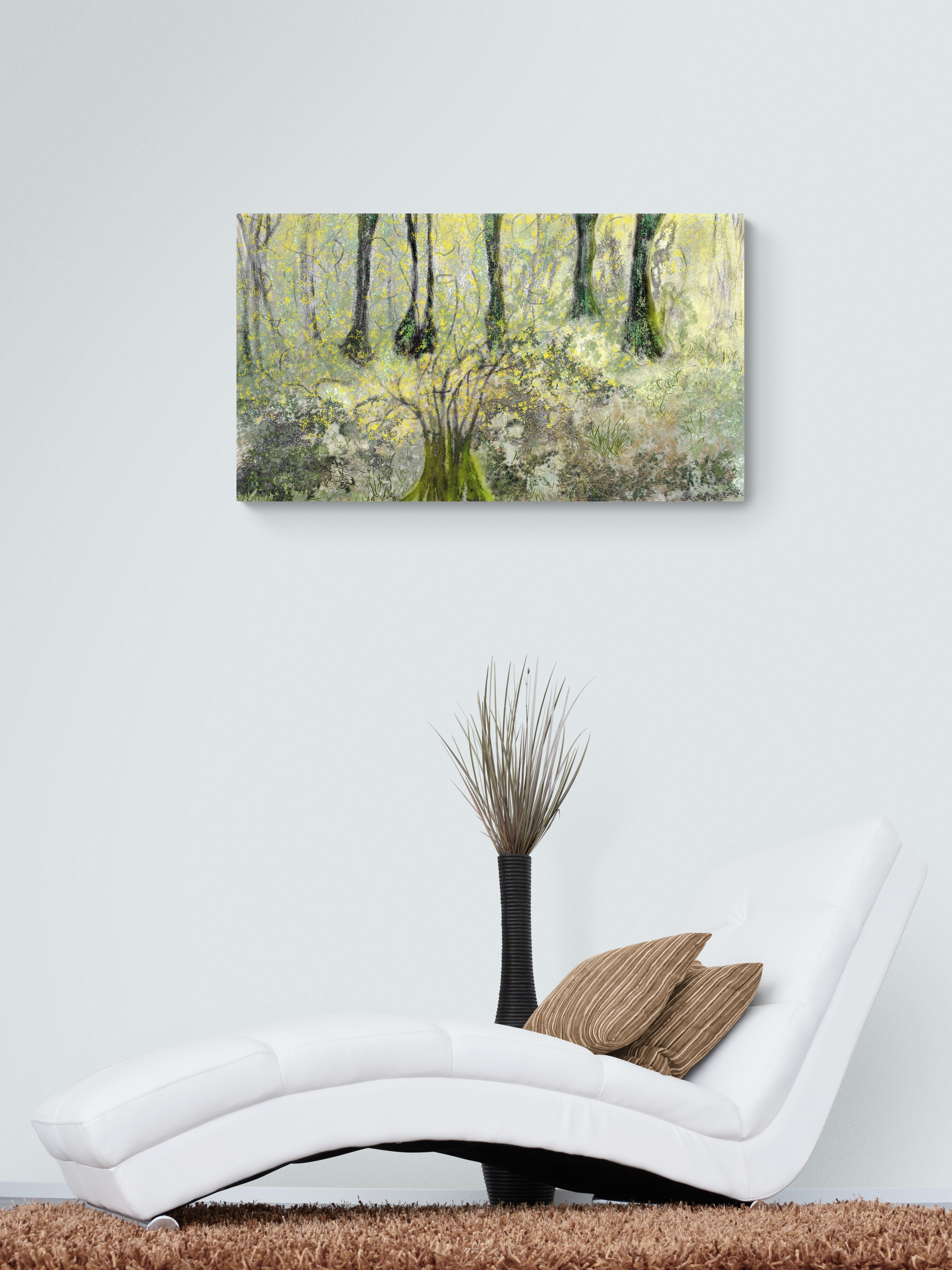 Mountain Mimosa - Abstract nature painting - Fascinating art print inspired by the beautiful mountain mimosas of Occitanie, France. artist: Anne Turlais - Limited edition of 300. Abstract nature painting printed on Dibond.