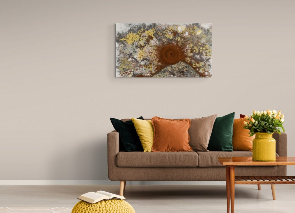 Fascinating art print inspired by the cosmic-looking spirals shape of ants' work in the rock of mountains in Occitanie, France. artist: Anne Turlais - Limited edition of 300. Cosmic art printed on Dibond.