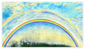 Rainbow Abstract Art -Dazzling art print inspired by a double rainbow seen in the mountains of Occitanie, France. artist: Anne Turlais - Limited edition of 300. Printed on Dibond.