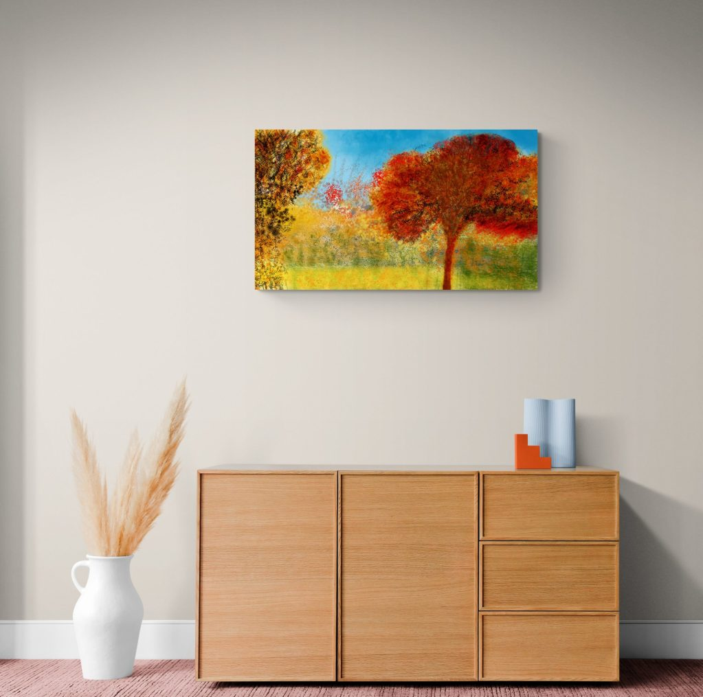 Second image of 'Fire'. Fire depicts a dense abstract floral pattern on a warm red background, inspired by the local maple tree in Occitanie, France. Printed on Dibond and available in limited edition.