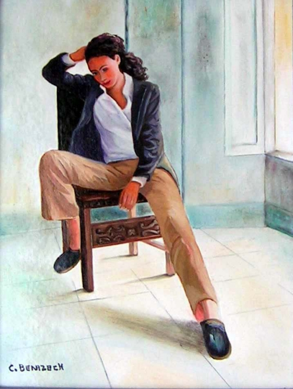 tableau peinture art femme assise