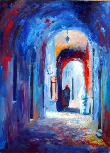 art contemporain art moderne bleu rou
