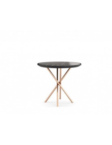 round side table with lacquered marble top copper stainless legs