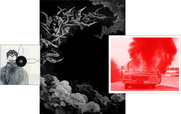 """Klaus Killisch, """"empyrion"""", 2012, Collage, Zeichnung auf Papier und Leinwand, 300 x 500 cm"""