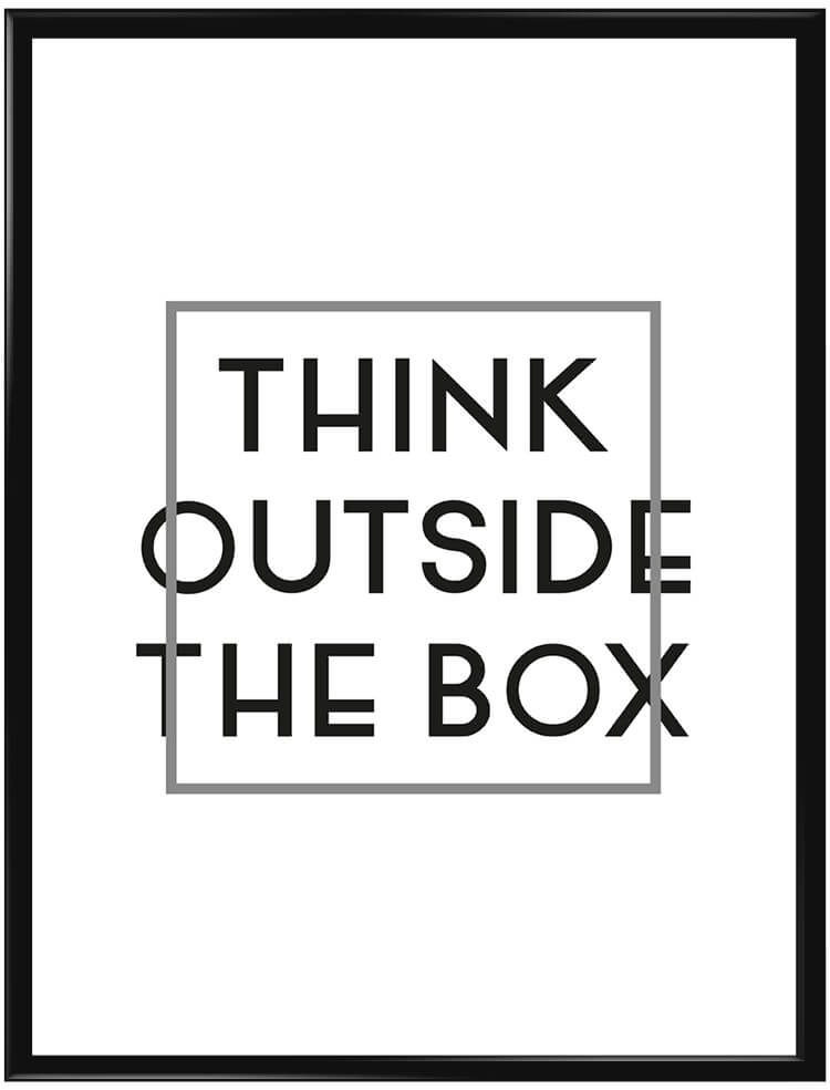 Poster med texten think outside the box