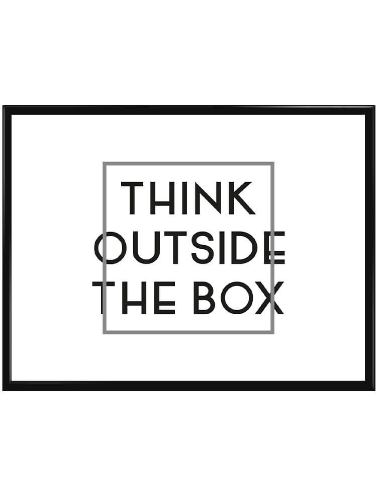 Liggande poster med texten think outside the box